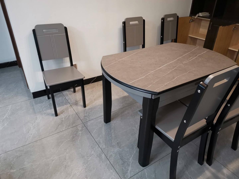 卡洛森餐桌实木餐桌岩板餐桌椅组合现代简约小户型家用方圆两用折叠餐桌阿玛尼灰【轻奢实木椅】【进口岩板】1.35米一桌6椅
