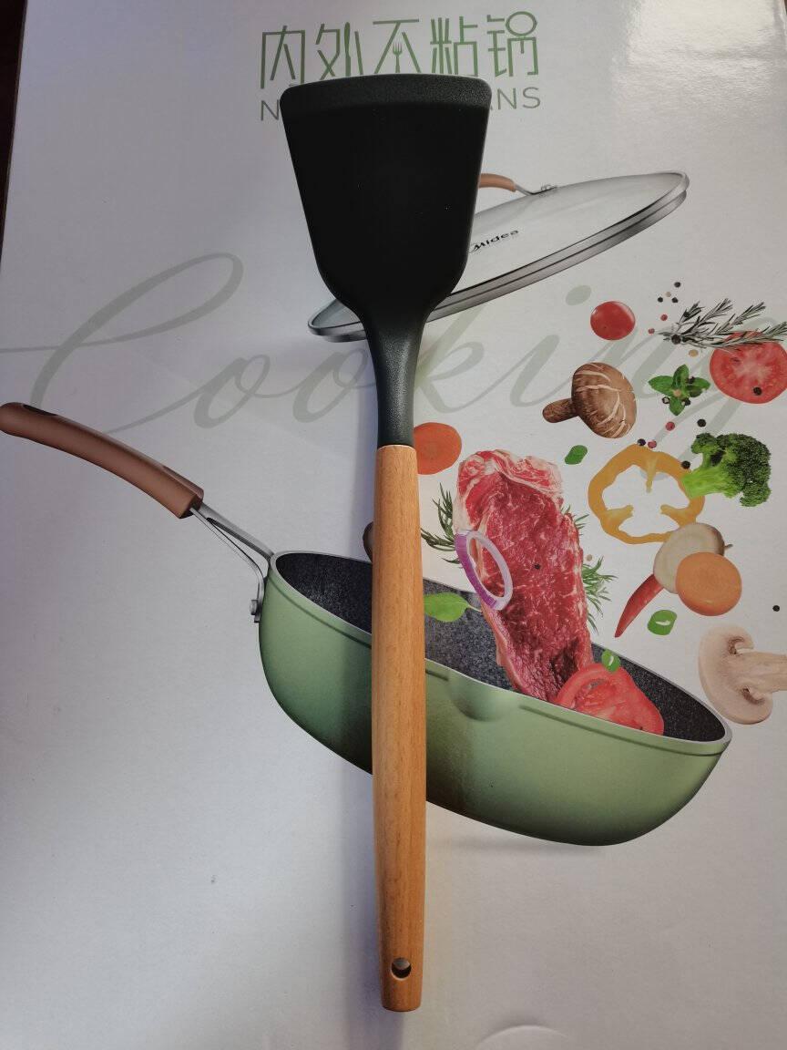 美的麦饭石煎炒锅平底深煎锅不粘无油烟煎蛋锅煎锅炒菜锅28口径元气系列不粘锅绿色