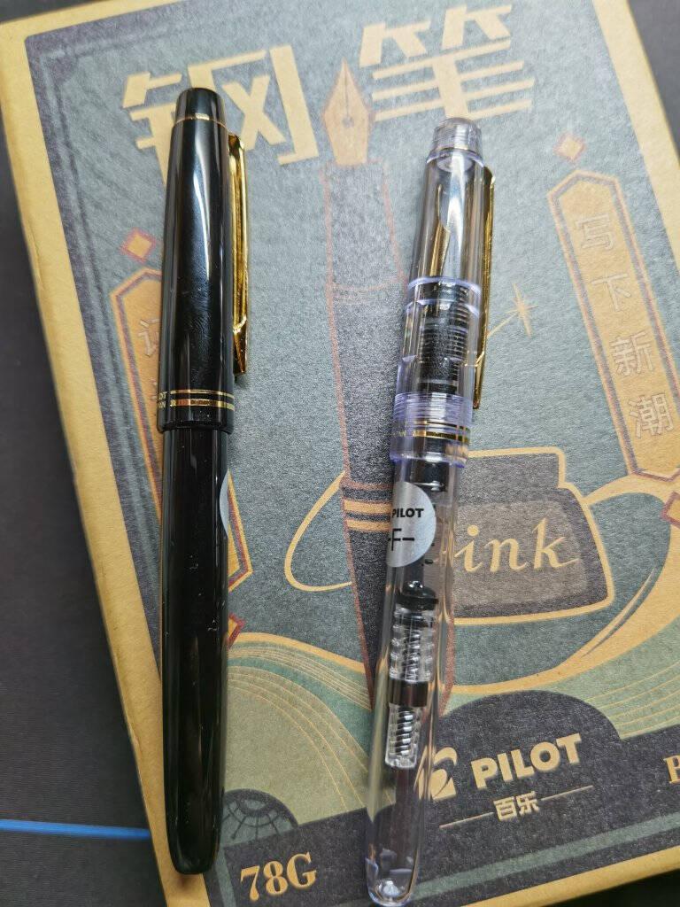 日本百乐(PILOT)FP-78G+钢笔套装F尖商务签字笔练字送礼钢笔墨水复古礼盒装透明色