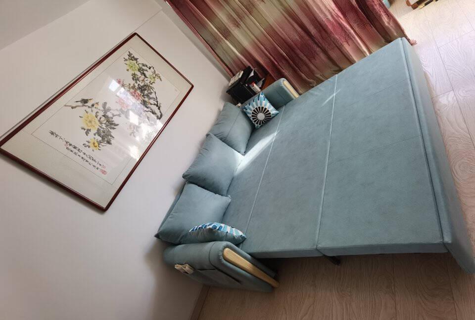 塞纳春天沙发床可折叠沙发床两用小户型科技布沙发床海绵款155cm*201cm(带储物箱)