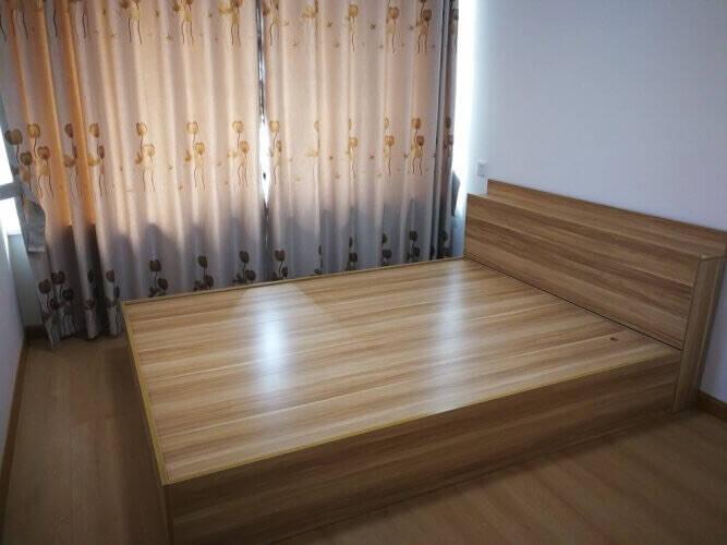 珞玲珑床高箱储物双人床1.5米1.8米经济型实木颗粒板式床榻榻米卧室家具浅胡桃色(裸床促销款)1.5*2米