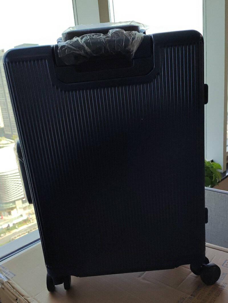 卡拉羊铝框拉杆箱20英寸可登机行李箱男女时尚静音万向轮旅行箱商务出差密码箱子CX8410深蓝