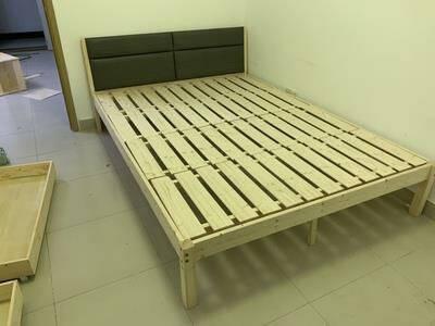 拼百年实木床软包床简约欧式出租车床1.2米1.5米1.8米黑白软包实木床1500*2000mm