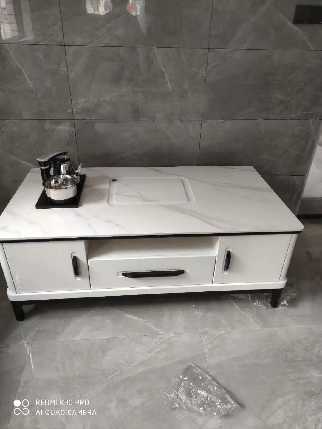 优卡吉功夫茶几电视柜组合岩板现代简约客厅带电磁炉茶桌套装1.4米功夫茶几【镂空款】+1.7~2.5米电视柜