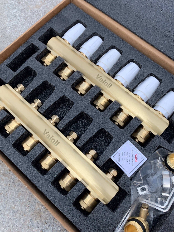 德国威仑(Vainll)地暖分水器地暖管地热分集水器全铜加厚耐用30年进口原料新款6路