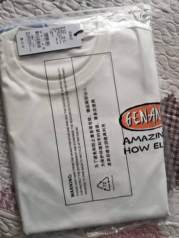 【2021夏款】GENANX情侣款t恤卡通插画印花时尚打底衫五分袖上衣白色L