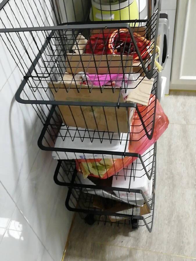 欧润哲厨房置物架落地储物架客厅收纳架货架家用蔬菜水果篮置物卫生间浴室移动小推车4层