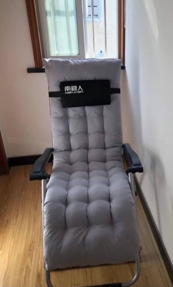 南极人躺椅折叠床午休逍遥椅办公室午睡午休床医院陪护床折叠椅沙滩椅配可拆卸加厚棉垫168度调节豪华黑色
