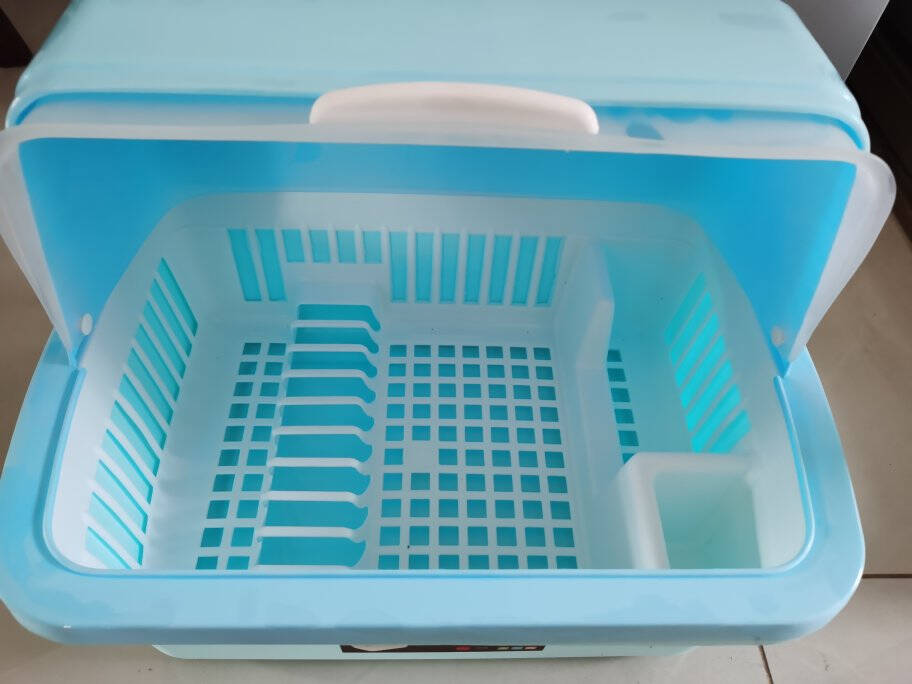 多美忆厨房置物架碗筷收纳盒沥水碗架刀架带盖放餐具装碗碟盘碗柜塑料台面沥水篮储物架水槽沥水架北欧蓝色