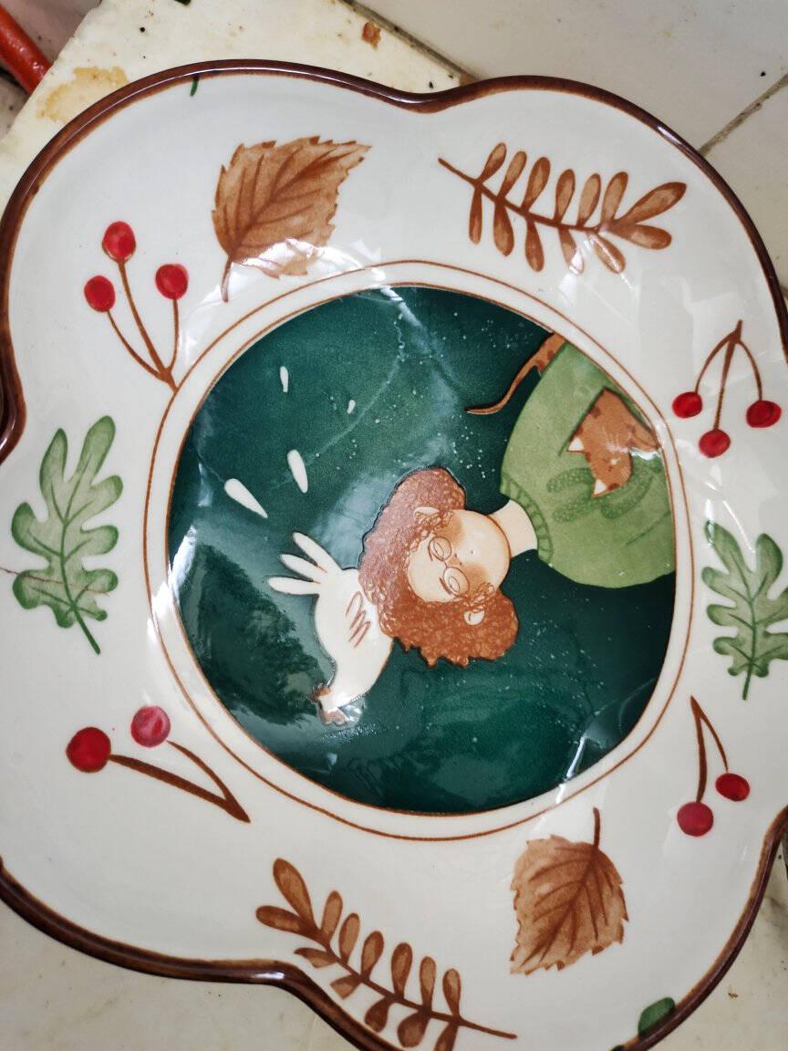 树谷日式碗碟套装创意个性卡通碗陶瓷餐具套装家用组合饭碗碗盘釉下彩一人食4件套(配梅花盘)