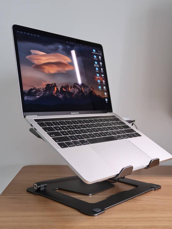 松能笔记本支架笔记本散热架电脑笔记本升降台增高托架立式桌面散热架苹果macbook架A11银色