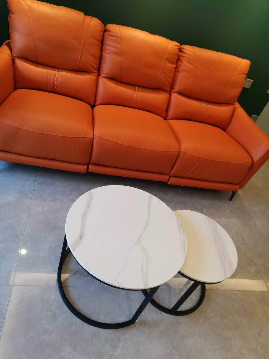 佳佰【京东自有品牌】茶几岩板茶几简约大小圆茶几客厅圆形桌小户型家用边桌