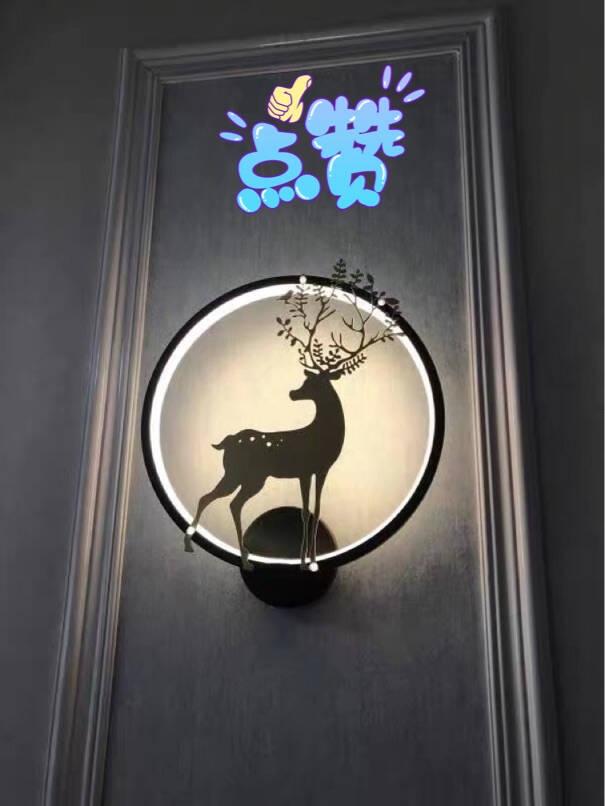 卡梦尔现代简约壁灯卧室床头灯北欧婚庆创意小鹿客厅过道楼梯墙壁灯具黑框-款-【暖光】