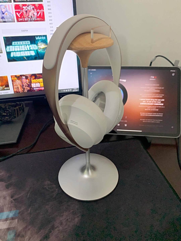 DrewChan耳机支架通用头戴式耳麦挂架Airpods展示架子桌面电竞游戏耳机支撑架网吧电脑挂钩EJ60B黑色-铝合金+胡桃木耳机支架