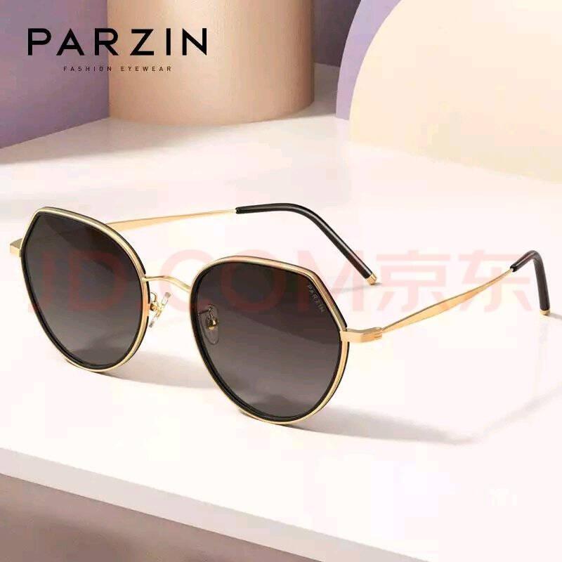 帕森(PARZIN)太阳镜女宋祖儿明星同款尼龙镜片轻透街拍潮流大框墨镜女8216粉边金框茶色片