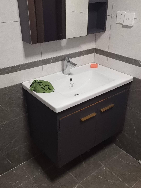 法恩莎卫浴官方(FAENZA)浴室柜套装现代轻奢北欧卫生间洗脸盆柜洗手盆柜组合简约洗漱台镜柜FDGD3621F-B80cm(含龙头配件)