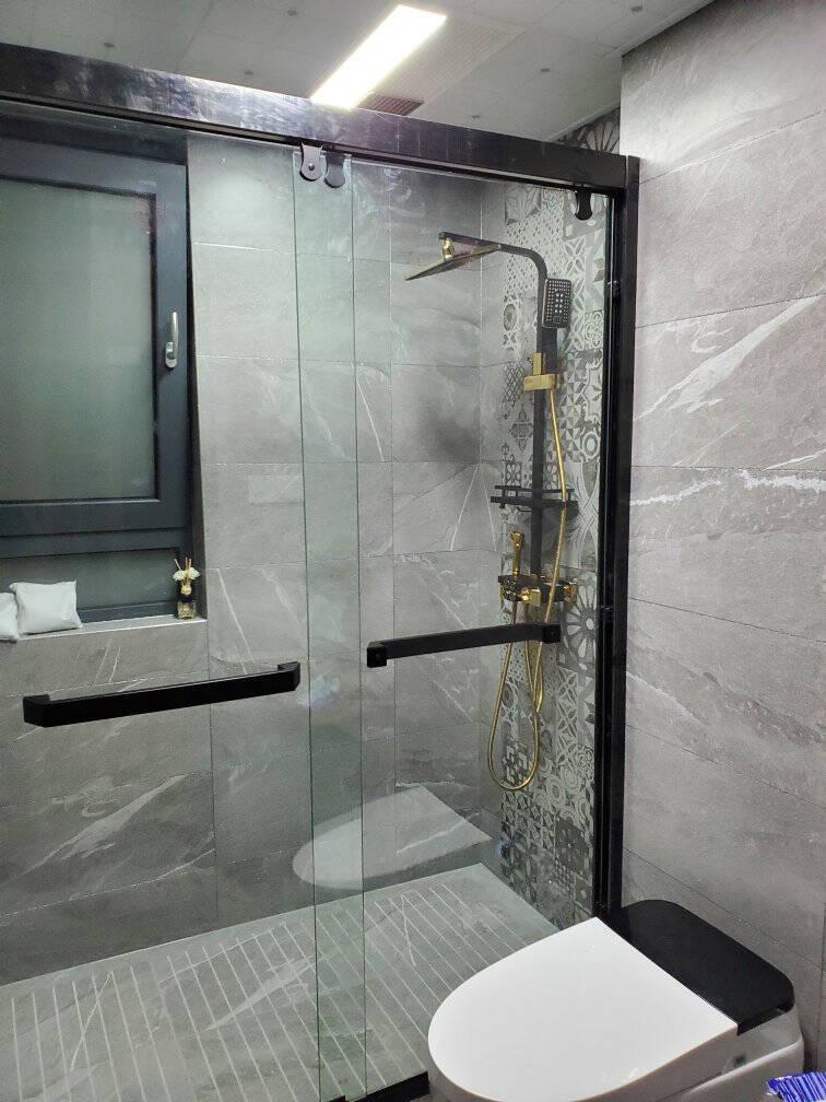 SSWW浪鲸卫浴淋浴房一字型玻璃隔断雅黑简约整体淋浴房双开门定制淋浴房EB31-Y222.6平方【含石基+防爆膜】镜光色一字屏淋浴房