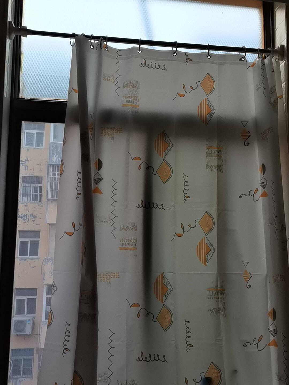 优尊浴室浴帘布防水防霉遮挡门帘窗帘挂帘卫生间保暖隔帘子拉帘免打孔伸缩杆套装选择多尺寸单帘80宽*180高+环
