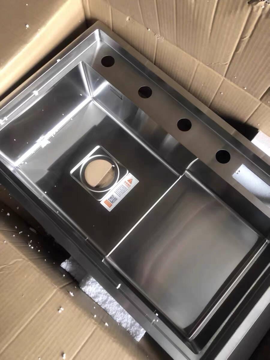 阿萨斯(ASRAS)8048J阶梯式水槽洗菜盆304不锈钢手工水槽厨房高低洗碗池大单槽配3063龙头(净水三用带喷枪)80*48cm(带台控)