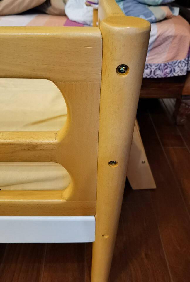 安维斯名爵儿童床实木拼接床带护栏男孩女孩榉木加宽小床延边定制婴儿床单人公主床婴儿床可定做三面护栏(原木色)200*80*40(可定做)