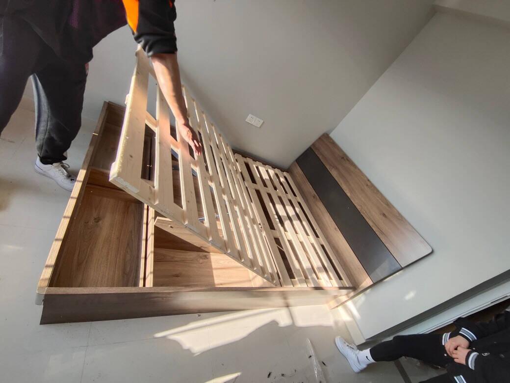 莱娅床北欧实木床1.5米主卧双人床1.8米小户型板式婚床现代简约卧室家具C085单床+10公分椰棕床垫1.5*2米框架款