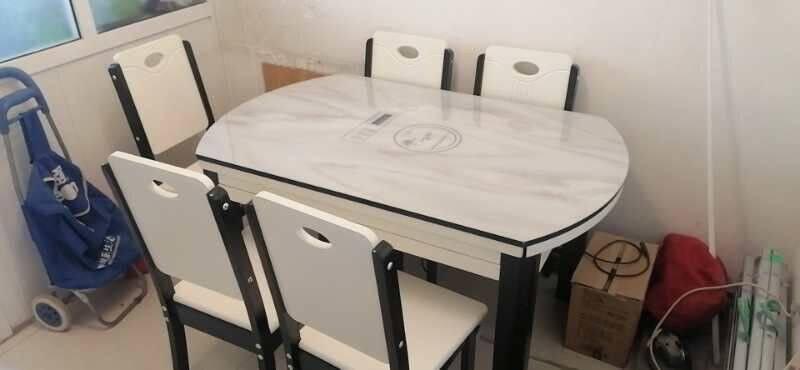 卧森实木餐桌椅组合现代简约钢化玻璃折叠伸缩带电磁炉家用小户型饭桌1.35米一桌六椅【不带电磁炉】