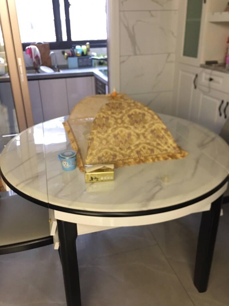 美布怡餐桌椅组合现代简约小户型实木餐桌家用钢化玻璃餐桌伸缩两用饭桌1.35米一桌六椅