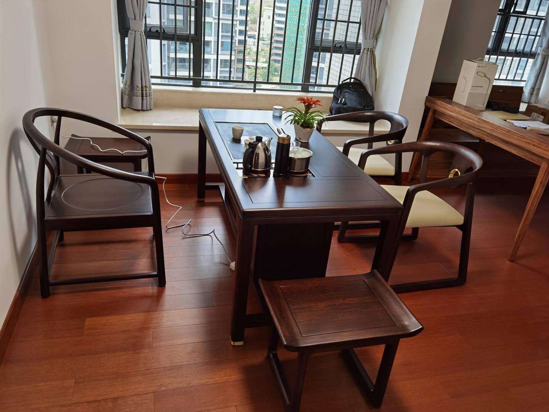 盛唐古韵茶桌茶台实木茶桌椅组合新中式茶桌功夫茶桌办公室茶桌乌金木家具U1630单茶桌茶桌1.6m