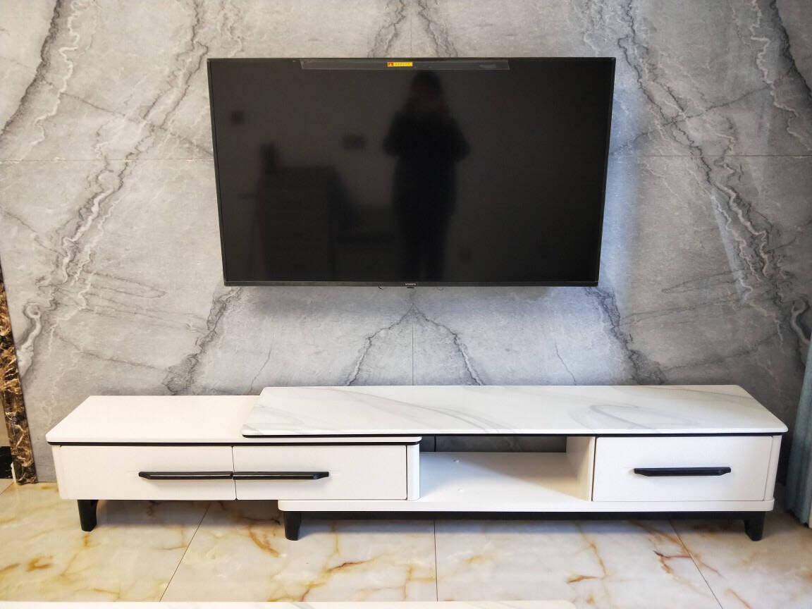 致语居电视柜茶几组合大理石可伸缩电视柜现代简约小户型客厅多功能储物地柜套装黑白色【三抽屉款】电视柜