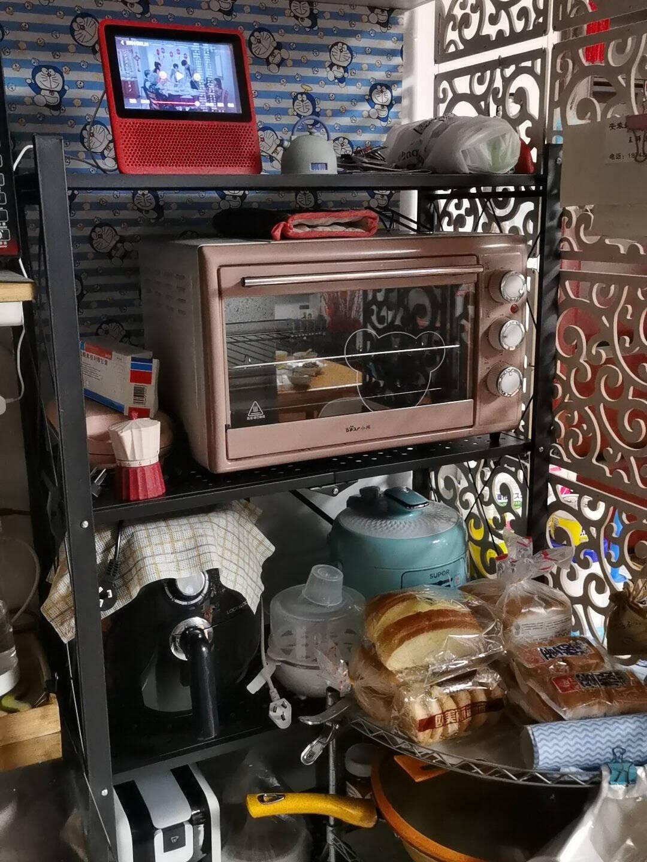 顺优厨房置物架收纳架五层厨房卫生间可移动架微波炉架储物货架烤箱架黑色【可折叠】SY-039