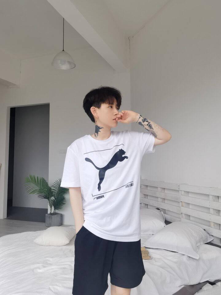 PUMA彪马官方新款男子休闲圆领短袖T恤NU-TILITY845997深牛仔蓝-43M(175/96A)
