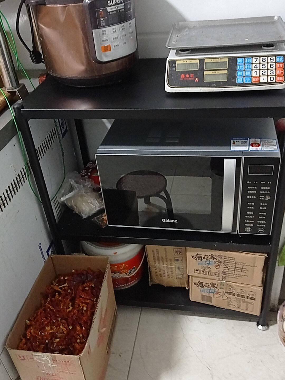稳纳厨房置物架黑色水果蔬菜架推车落地菜篮架子置物收纳架储物架微波炉烤箱架可移动黑色四层3板1网Z5331