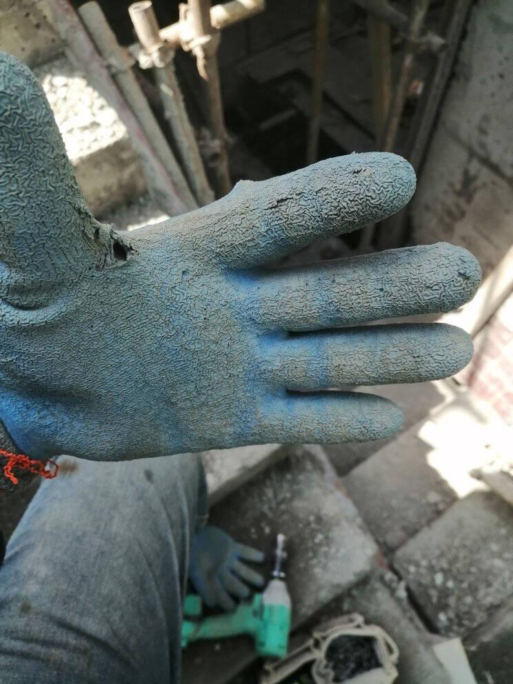 牛郎织女星劳保手套耐磨浸胶防滑防割加厚玻璃手套工作干活男工地姜黄色织女星12双装L