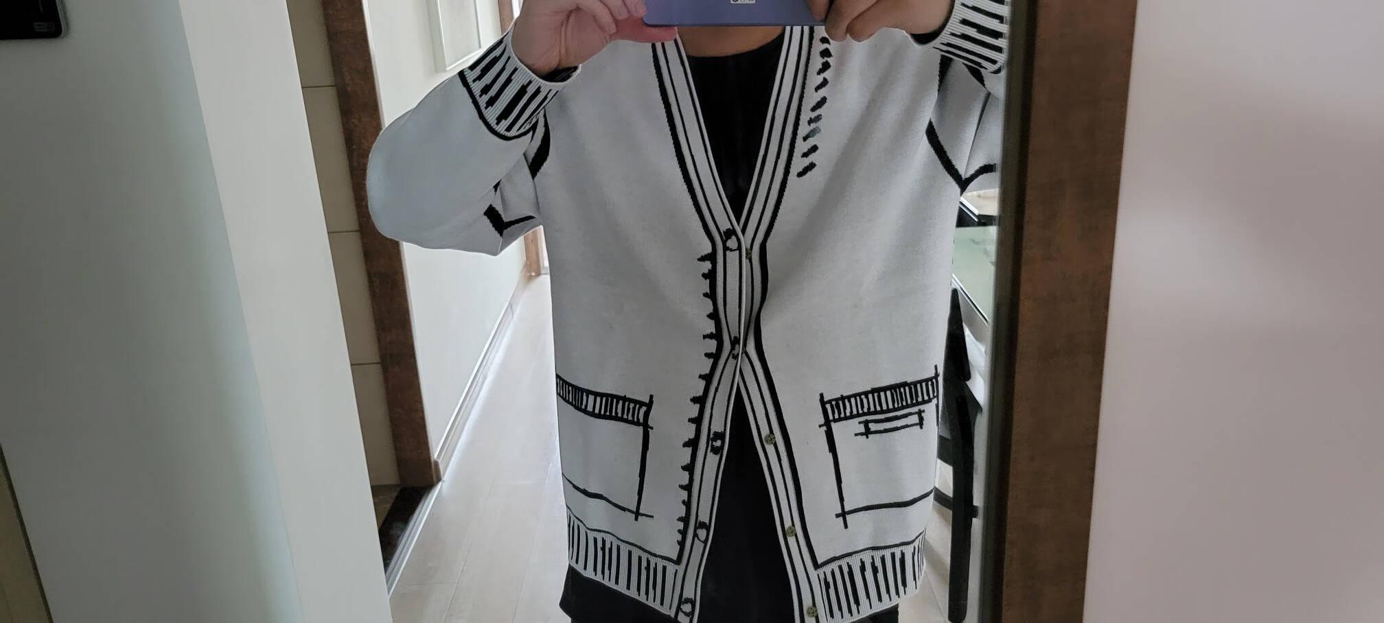 商场同款gxgjeans男装2021春季新款卡通开襟毛衫男开衫针织衫毛衣潮上衣白色175/L
