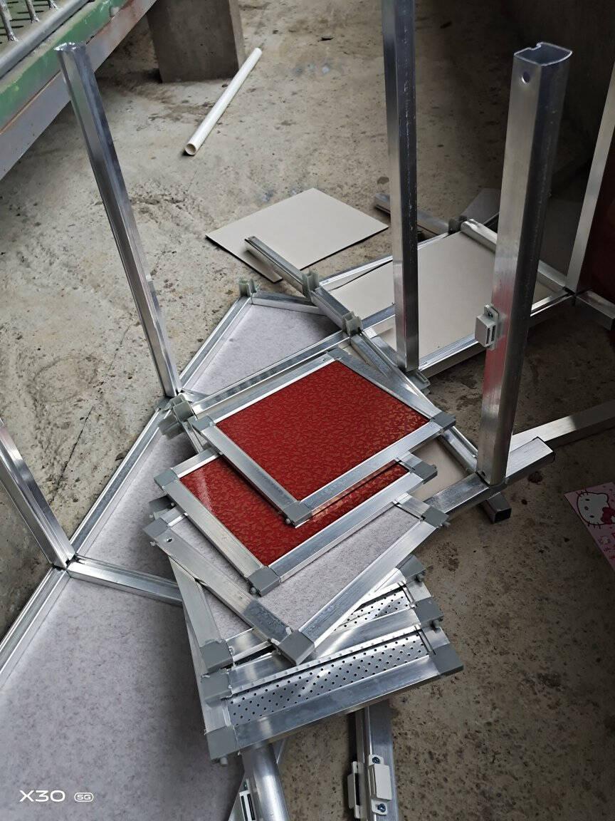 简易碗柜厨柜三层组装柜不生锈铝合金柜橱柜厨房收纳柜一层双门红色50*34*45CM双门