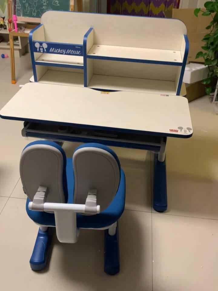 迪士尼Disney米妮联名款儿童学习桌实木学习桌儿童书桌可升降带书架桌椅套装