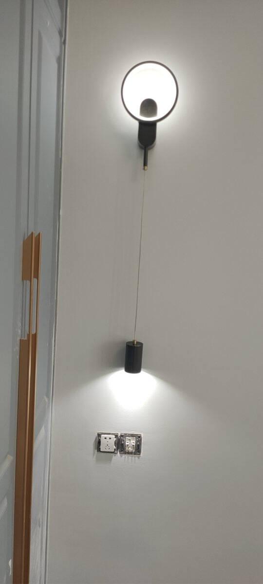 凯洛利全铜壁灯卧室床头灯客厅现代简约轻奢北欧背景墙网红创意过道墙壁灯D款-拉丝铜20w三色温