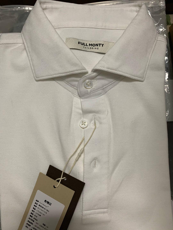 FULLMONTY短袖polo衫男士翻领纯棉衬衫领商务休闲夏装纯色白色8517L(175/96Y)