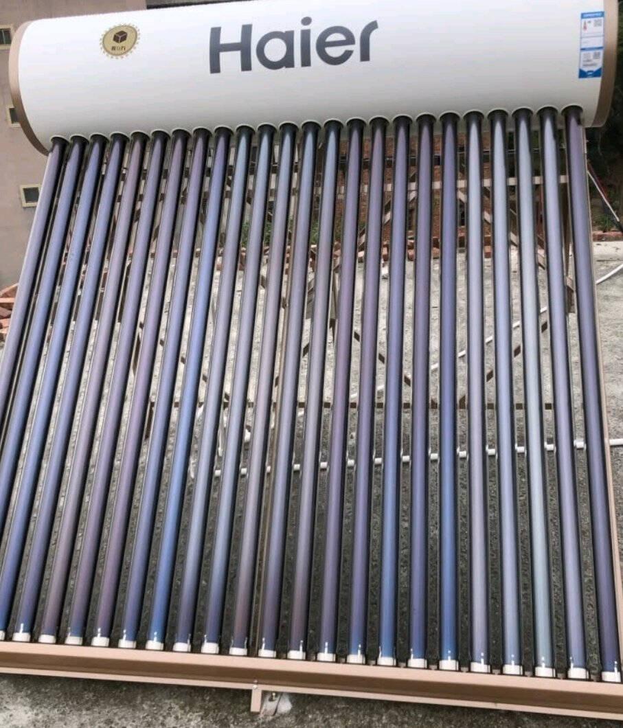 海尔(Haier)太阳能热水器家用自动上水光电两用一级能效防冻保温水箱水位水温电辅助热水器L6系列-130L-18支管(适用3-4人)