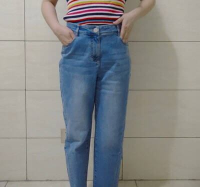 Yifini/易菲ins风老爹牛仔裤女时尚休闲高腰直筒裤九分裤2021春季蓝色0L