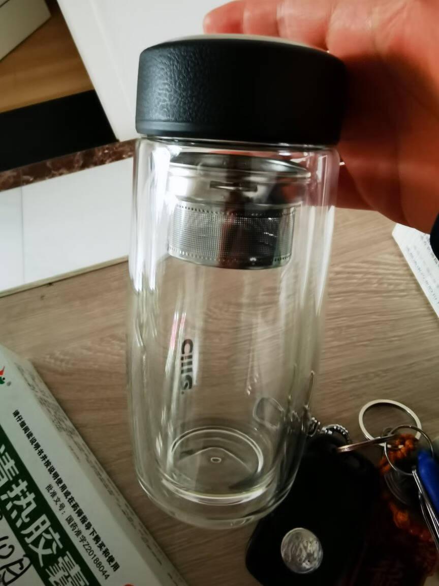 希乐茶水分离杯隔热加厚双层玻璃杯男士泡茶水杯带过滤网商务办公杯家用茶杯子260ml蓝色DS-516-l
