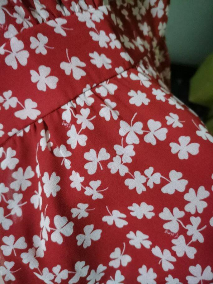 碎花连衣裙女衣香丽影2021年春夏季法式气质超仙红色雪纺仙女裙子女装红色L