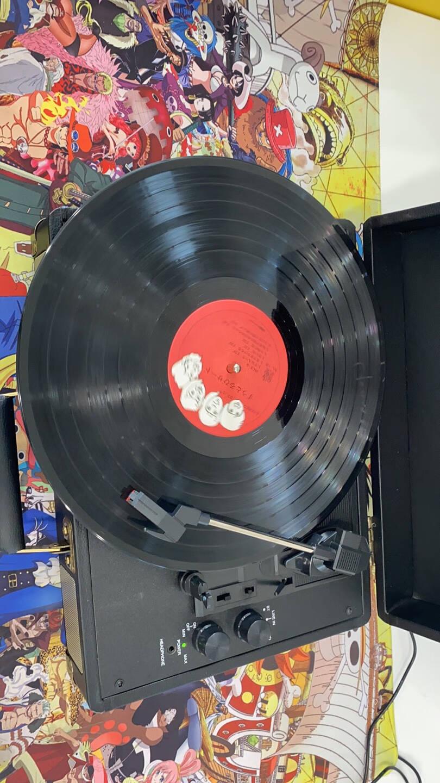 iaufone黑胶唱片机蓝牙音响留声机黑胶片唱机电唱机复古皮箱子黑色