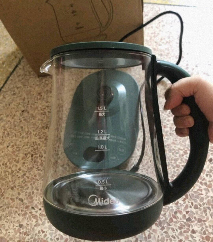 美的(Midea)养生壶煮茶器热水壶烧水壶煮茶壶花茶壶电茶壶迷你带煮蛋器玻璃电水壶智能强效定温丨YS15X1-601