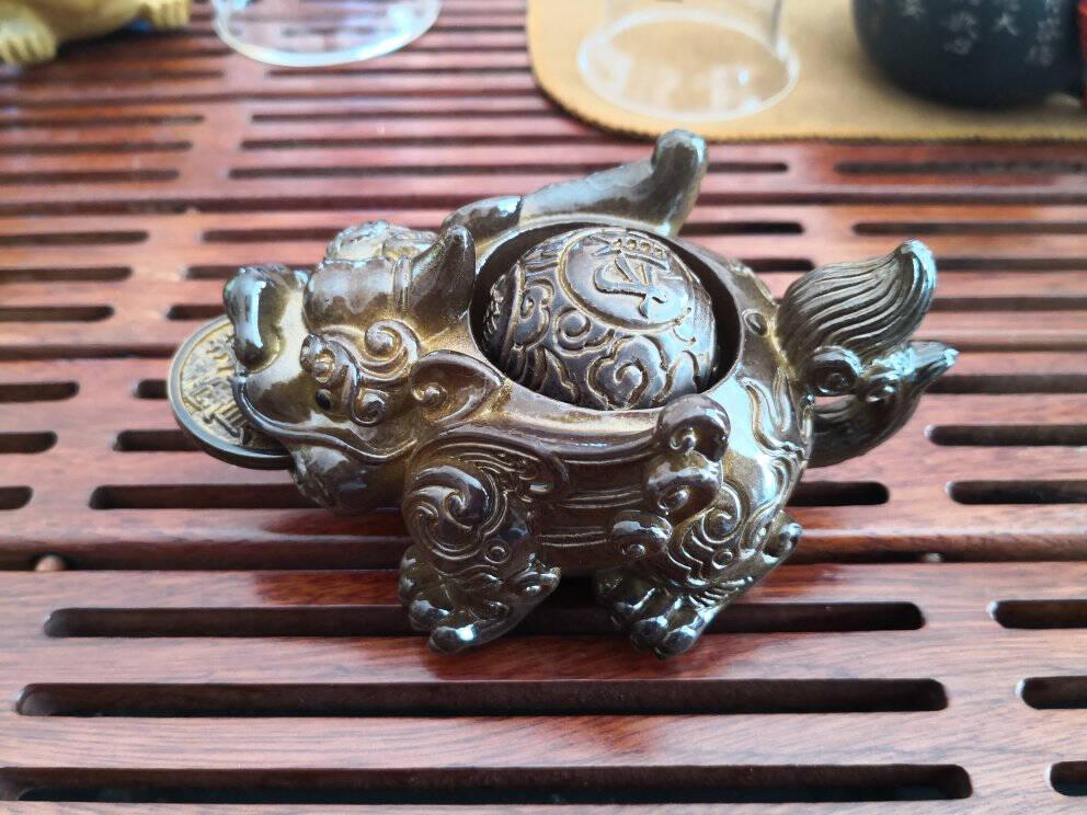 蒙福(mengfu)茶宠摆件精品貔貅创意感温变色喷水招财蟾蜍可养茶玩茶台茶盘功夫茶具茶道茶盘配件貔貅茶宠金色