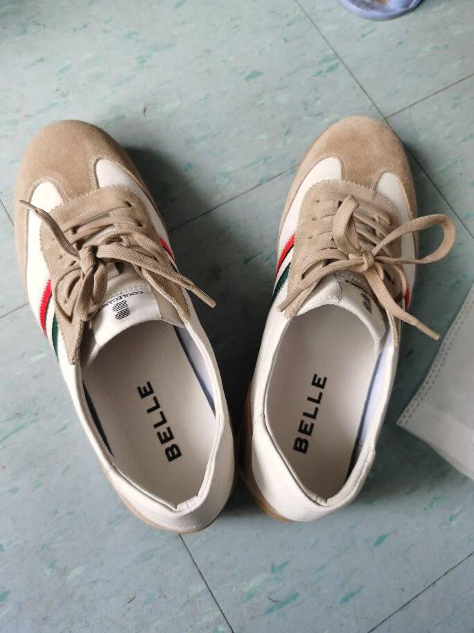 【活动】百丽低帮板鞋男2021春新商场同款潮流撞色运动休闲鞋7DR01AM1白/杏色40