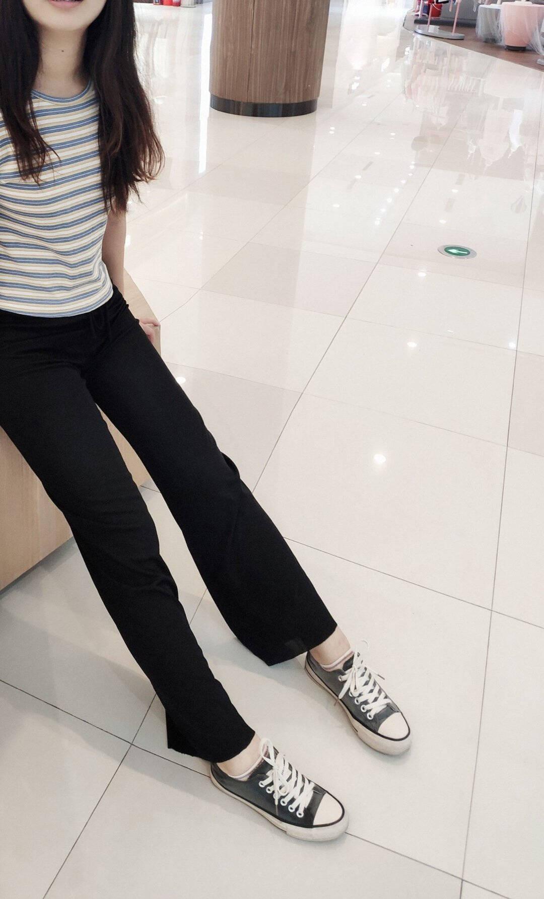 浪莎休闲裤女夏季通勤薄款高腰裤子冰丝阔腿裤垂感宽松直筒女裤【九分款】黑色XL