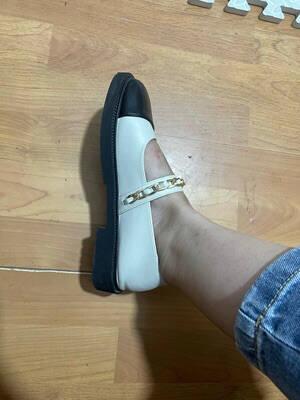 戈美其2021秋季新款浅口尖头平跟单鞋女懒人平底鞋休闲玛丽珍女鞋黑色37