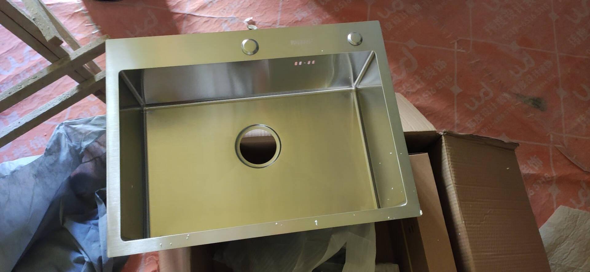 悍高HIGOLD厨房水槽单槽加厚304不锈钢手工水槽洗菜盆双槽台上台下洗菜池台控洗碗池配抽拉龙头