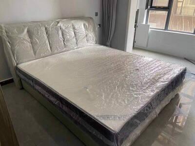 百慕床皮床双人床实木床现代简约意式轻奢单人1.5米1.8米高箱储物软包床多功能极简家具皮床(旗舰版)1.5m*2m框架结构